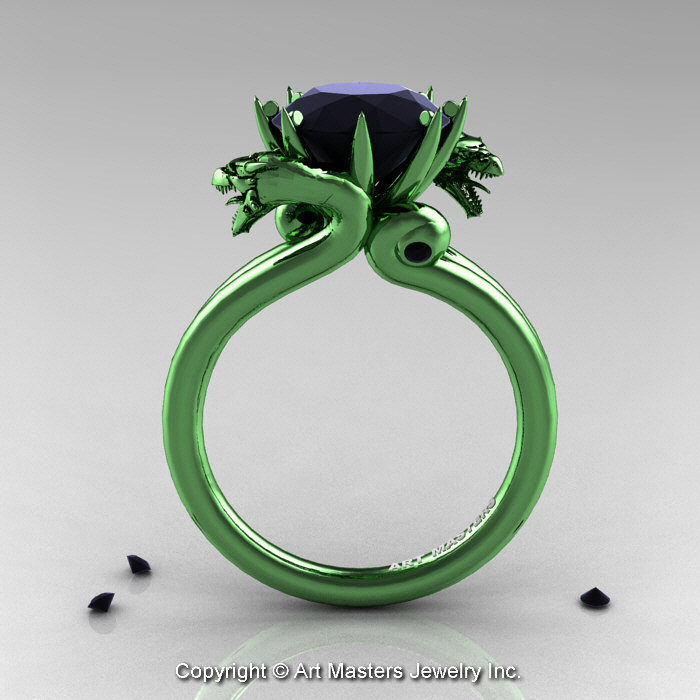 simple luxury ring onyx wedding band black green rings jade thick of