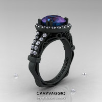 Caravaggio 14K Matte Black Gold 3.0 Ct Russian Alexandrite Diamond Engagement Ring Wedding Ring R620-14KMBGDAL-1