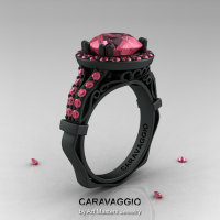 Caravaggio 14K Matte Black Gold 3.0 Ct Light Tourmaline Engagement Ring Wedding Ring R620-14KMBGLTU-1