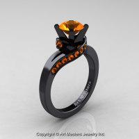 Classic 14K Black Gold 1.0 Ct Orange Sapphire Designer Solitaire Ring R259-14KBGOS-1