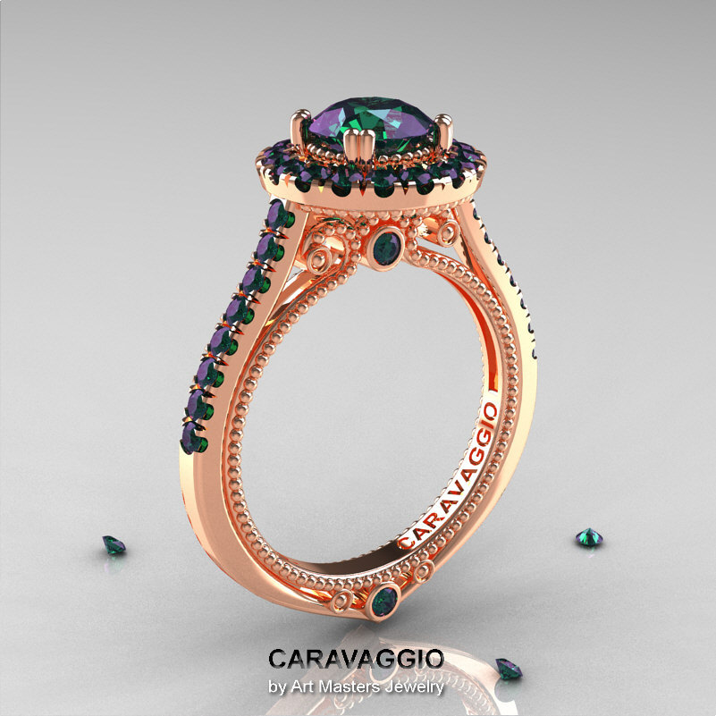 caravaggio 14k rose gold 10 ct russian alexandrite engagement ring wedding ring r621 14krgal - Alexandrite Wedding Ring