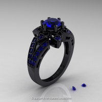 Art Deco 14K Black Gold 1.0 Ct Blue Sapphire Wedding Ring Engagement Ring R286-14KBGBS-1