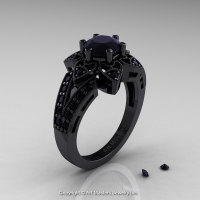 Art Deco 14K Black Gold 1.0 Ct Black Diamond Wedding Ring Engagement Ring R286-14KBGBD-1