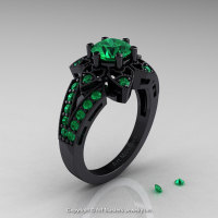 Art Deco 14K Black Gold 1.0 Ct Emerald Wedding Ring Engagement Ring R286-14KBGEM-1
