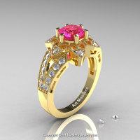 Art Deco 14K Yellow Gold 1.0 Ct Pink Sapphire Wedding Ring Engagement Ring R286-14KYGPS-1