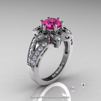 Art Deco 14K White Gold 1.0 Ct Pink Sapphire Wedding Ring Engagement Ring R286-14KWGPS-1