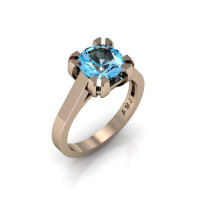 Modern 14K Rose Gold Gorgeous Solitaire Bridal Ring with a 2.0 Carat Blue Topaz Center Stone R66N-14KRGBT-1