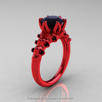 Nature Inspired 14K Red Gold 2.0 Carat Black Diamond Organic Design Bridal Solitaire Ring R670s-14KRGBD-1