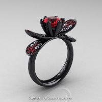 14K Black Gold 1.0 Ct Rubies Diamond Nature Inspired Engagement Ring Wedding Ring R671-14KBGDR-1
