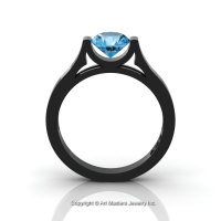 Modern 14K Black Gold Beautiful Wedding Ring or Engagement Ring for Women with 1.0 Ct Blue Topaz Center Stone R665-14KBGBT-1