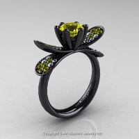 14K Black Gold 1.0 Ct Yellow Sapphire Diamond Nature Inspired Engagement Ring Wedding Ring R671-14KBGDYS-1
