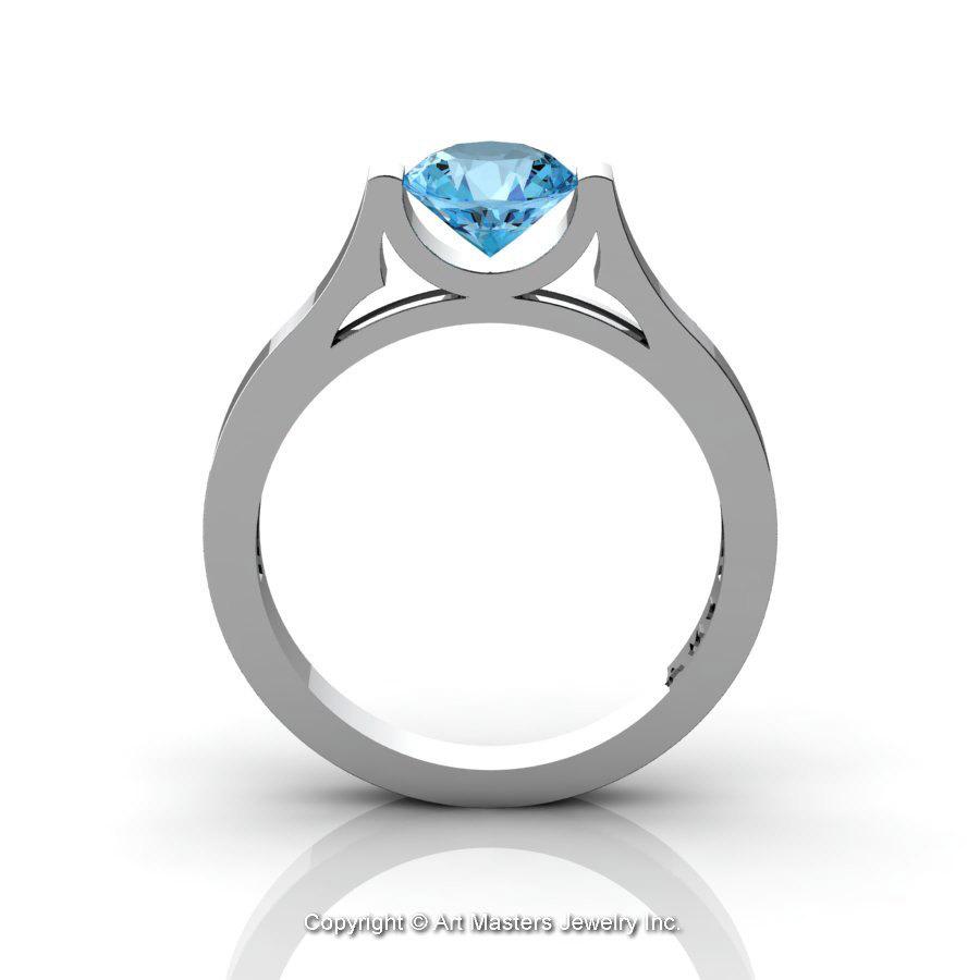modern 14k white gold beautiful wedding ring or engagement