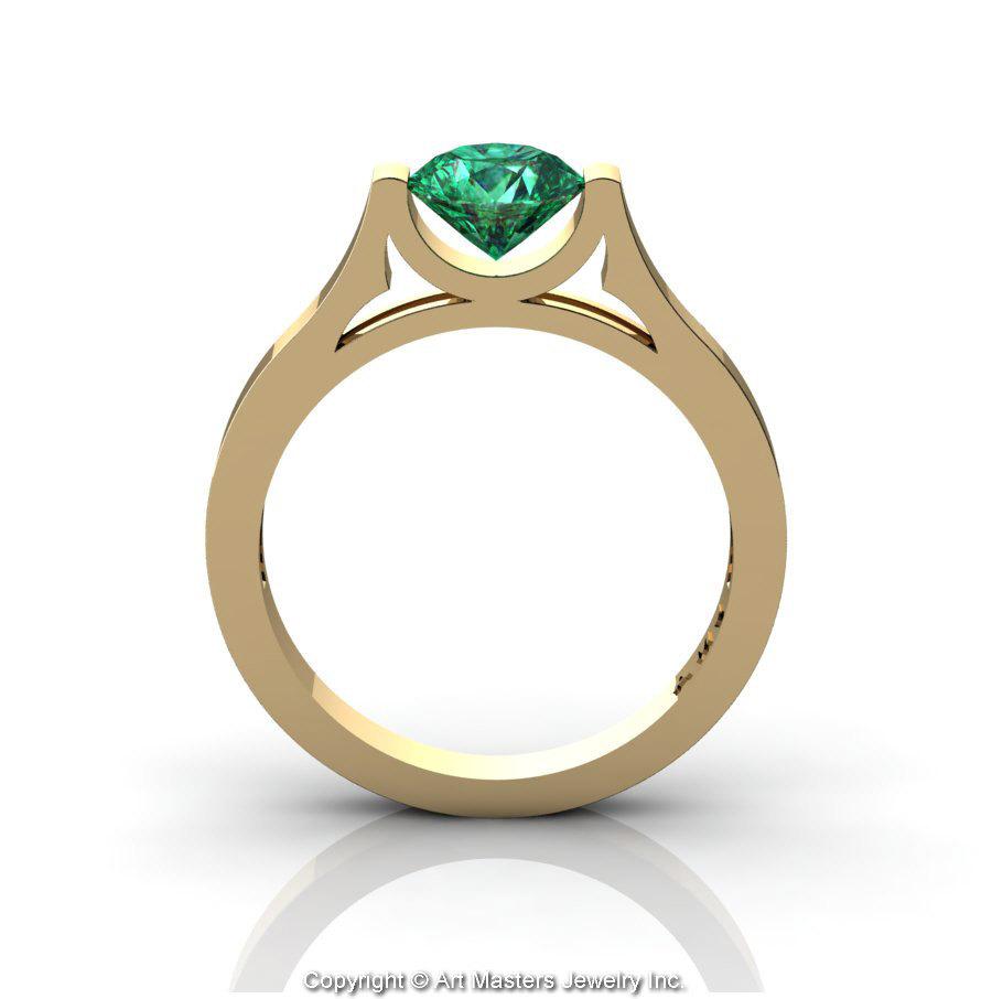 Modern 14K Yellow Gold Designer Wedding Ring or Engagement Ring ...