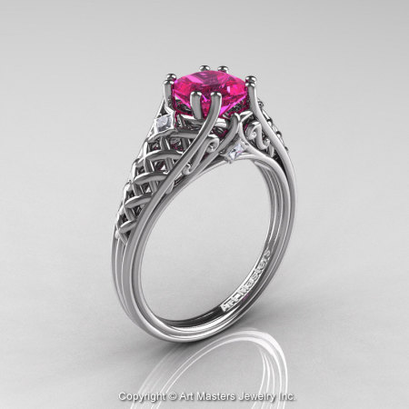 Classic French 14K White Gold 1.0 Ct Princess Pink Sapphire Diamond Lace Engagement Ring or Wedding Ring R175P-14KWGDPS-1