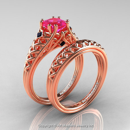 Classic French 14K Rose Gold 1.0 Ct Princess Pink Sapphire Black Diamond Lace Engagement Ring Wedding Band Set R175PS-14KRGBDPS-1