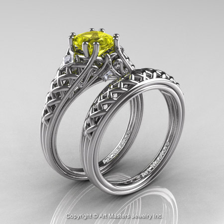 Classic French 14K White Gold 1.0 Ct Princess Yellow Sapphire Diamond Lace Engagement Ring Wedding Band Set R175PS-14KWGDYS-1