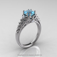 Classic French 14K White Gold 1.0 Ct Princess Aquamarine Diamond Lace Engagement Ring or Wedding Ring R175P-14KWGDAQ-1