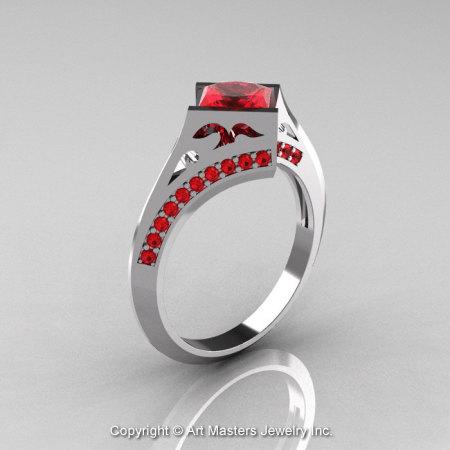 Modern French 14K White Gold 1.23 Ct Princess Rubies Engagement Ring Wedding Ring R176-14WGR-1