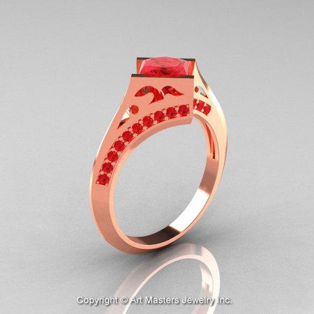 Modern French 14K Rose Gold 1.23 Ct Princess Rubies Engagement Ring Wedding Ring R176-14RGR-1