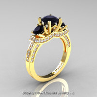 Exclusive French 18K Yellow Gold Three Stone Black and White Diamond Engagement Ring Wedding Ring R182-18KYGDBD-1