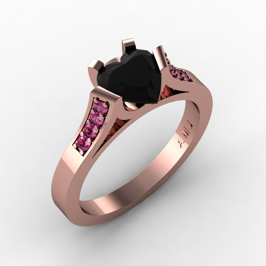 b5f843a04 Gorgeous 14K Rose Gold 1.0 Ct Heart Black Diamond Pink Sapphire Modern Wedding  Ring Engagement Ring