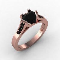 Gorgeous 14K Rose Gold 1.0 Ct Heart Black Diamond Modern Wedding Ring Engagement Ring for Women R663-14KRGBD-1