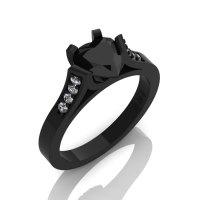 Gorgeous 14K Black Gold 1.0 Ct Heart Black and White Diamond Modern Wedding Ring Engagement Ring for Women R663-14KBGDBD-1