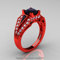 Edwardian 14K Red Gold 1.0 Ct Black and White Diamond Engagement Ring R285-14KRGDBD-1