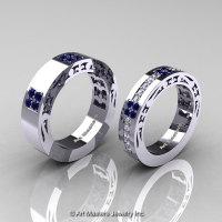 Modern Vintage 14K White Gold Diamond Blue Sapphire Wedding Band Set R474MF-14KWGBSD-1