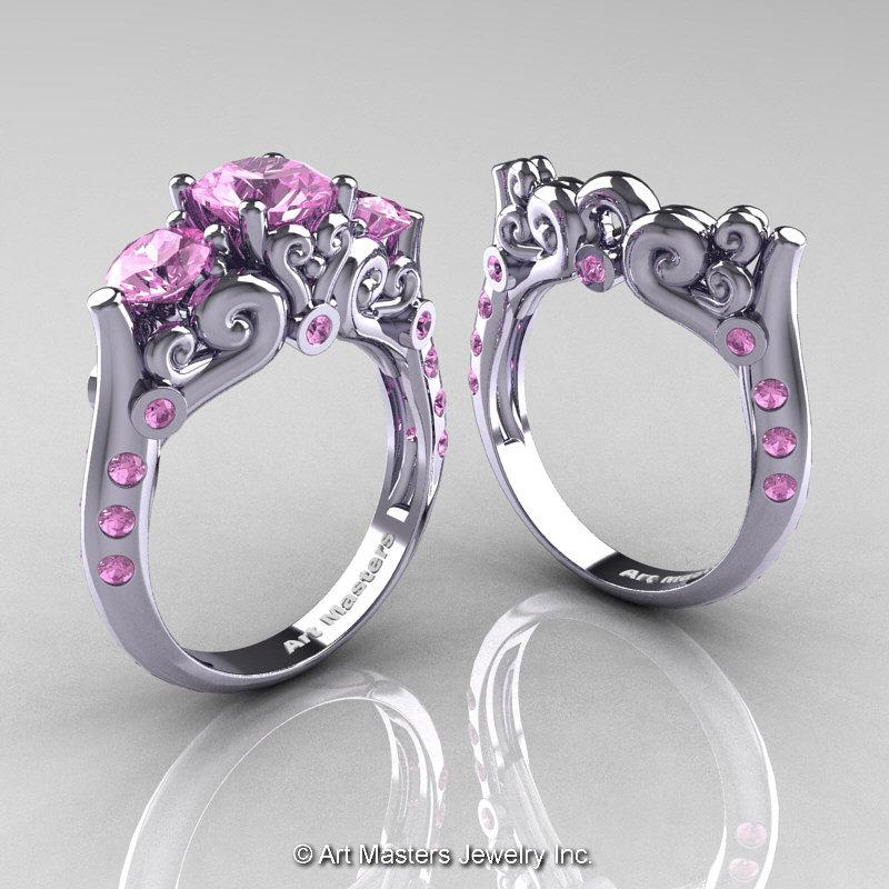 Art Masters 10K White Gold Three Stone Light Pink Sapphire Modern ...
