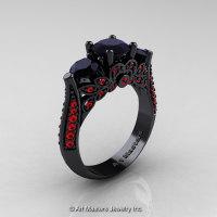 Art Masters Classic 14K Black Gold Three Stone Black Diamond Rubies Solitaire Ring R200-14KBGRBD-1