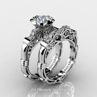Art Masters Caravaggio 14K White Gold 1.0 Ct White Sapphire Diamond Engagement Ring Wedding Band Set R623S-14KWGDWS-1