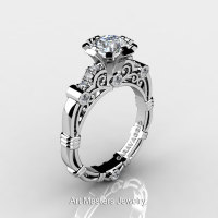 Art Masters Caravaggio 14K White Gold 1.0 Ct White Sapphire Diamond Engagement Ring R623-14KWGDWS-1