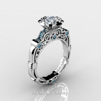 Art Masters Caravaggio 10K White Gold 1.0 Ct White Sapphire Aquamarine Engagement Ring R623-10KWGAQWS-1