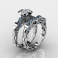 Art Masters Caravaggio 10K White Gold 1.0 Ct White Sapphire Aquamarine Engagement Ring Wedding Band Set R623S-10KWGAQWS-1