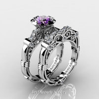 Art Masters Caravaggio 14K White Gold 1.0 Ct Amethyst Diamond Engagement Ring Wedding Band Set R623S-14KWGDAM-1