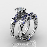 Art Masters Caravaggio 10K White Gold 1.0 Ct White and Blue Sapphire Engagement Ring Wedding Band Set R623S-10KWGBSWS-1