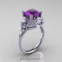 Art Masters Vintage 14K White Gold 3.0 Ct Amethyst Diamond Wedding Ring R167-14KWGDAM-1