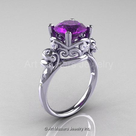 Art Masters Vintage 14K White Gold 3.0 Ct Amethyst Diamond Wedding Ring R167-14KWGDAM-1