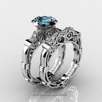 Art Masters Caravaggio 14K White Gold 1.0 Ct Aquamarine Diamond Engagement Ring Wedding Band Set R623S-14KWGDAQ-1