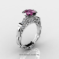 Art Masters Caravaggio 14K White Gold 1.0 Ct Pink Sapphire Diamond Engagement Ring R623-14KWGDPS-1