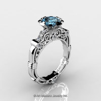 Art Masters Caravaggio 14K White Gold 1.0 Ct Aquamarine Diamond Engagement Ring R623-14KWGDAQ-1