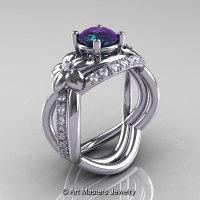 Nature Inspired 14K White Gold 1.0 Ct Alexandrite Diamond Leaf and Vine Wedding Ring Set R180S-14KWGDAL-1
