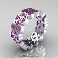 Art Masters Classic 14K White Gold Pink Sapphire Womens Wedding Band R272BF-14KWGPS-1