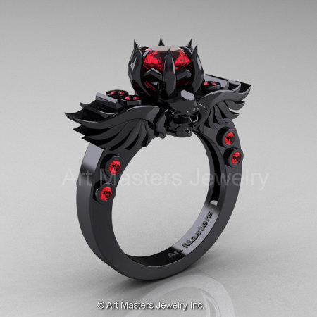 Art Masters Classic Winged Skull 14K Black Gold 1.0 Ct Rubies Solitaire Engagement Ring R613-14KBGR-1