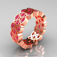 Art Masters Classic 14K Rose Gold Pink Sapphire Womens Wedding Band R272BF-14KRGPS-1