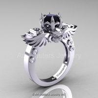 Art Masters Classic Winged Skull 14K White Gold 1.0 Ct Black White Diamond Solitaire Engagement Ring R613-14KWGDBD-1