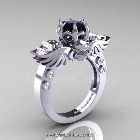 Art Masters Classic Winged Skull 14K White Gold 1.0 Ct Black White Diamond Solitaire Engagement Ring R613-14KWGDBD-1