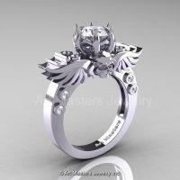 Art Masters Classic Winged Skull 14K White Gold 1.0 Ct White Sapphire Diamond Solitaire Engagement Ring R613-14KWGDWS-1