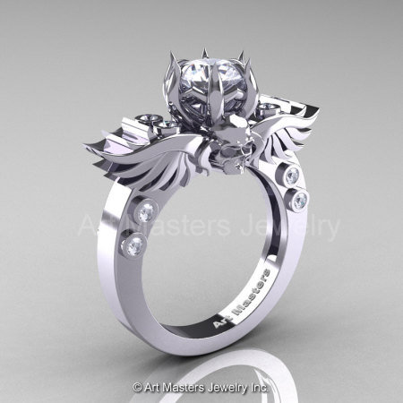 Art Masters Classic Winged Skull 14K White Gold 1.0 Ct White Sapphire Diamond Solitaire Engagement Ring R613-14KWGDWS-1